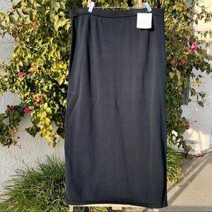 Liz Claiborne Black Maxi Knit Skirt w/Slit